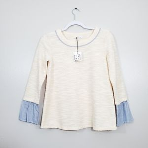 THML Cream Knit Striped Bell Sleeve Top